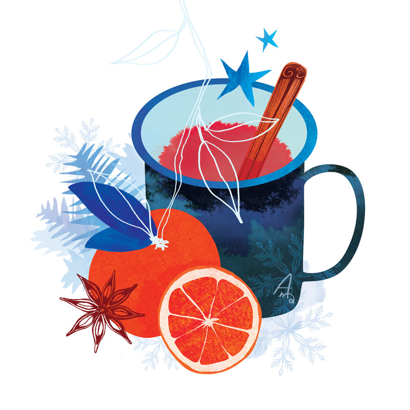 Winter Illustration of a mug of mulled wine with cinnamon and anise