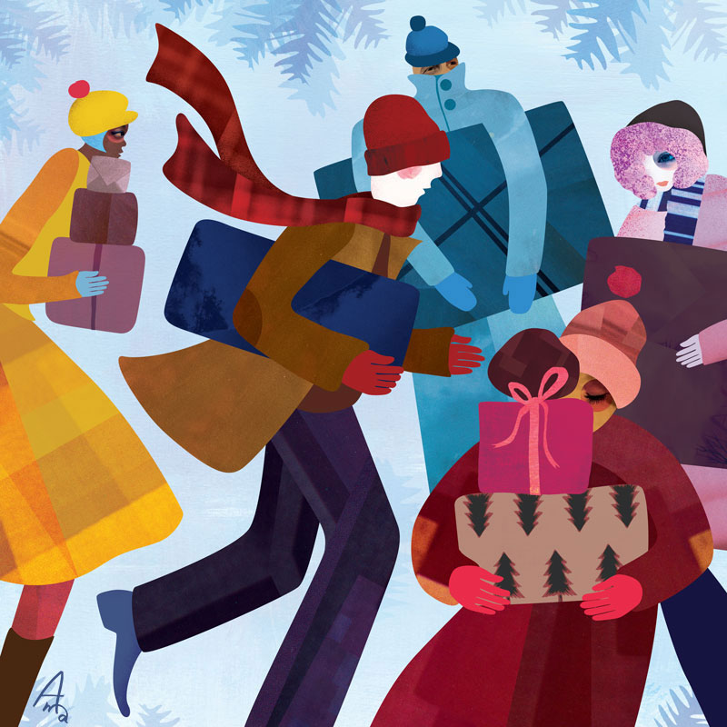 Winter collage illustration showing people buying Christmas presents